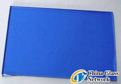 Dark blue flat glass