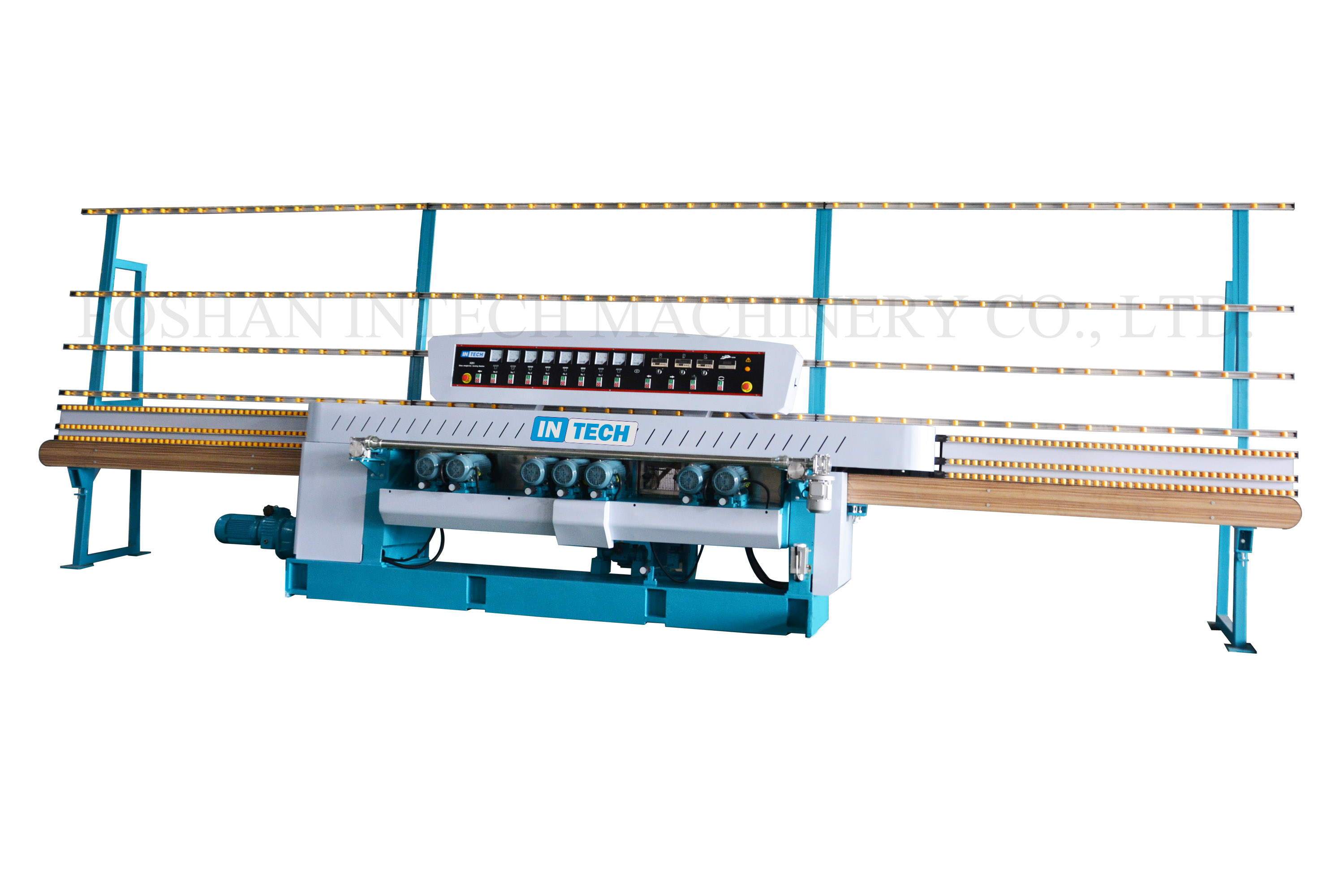 Glass straight-line beveling machine-8 spindles