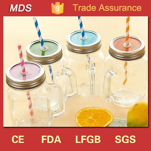 Glass manufacturer handblown canning mason jar mug lid