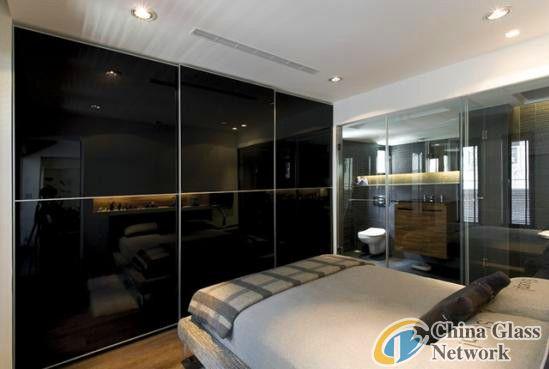 Black glass sliding door