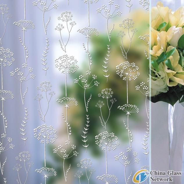 Blossoms aicd etched glass