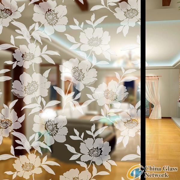 Auspicious flowers acid etched glass