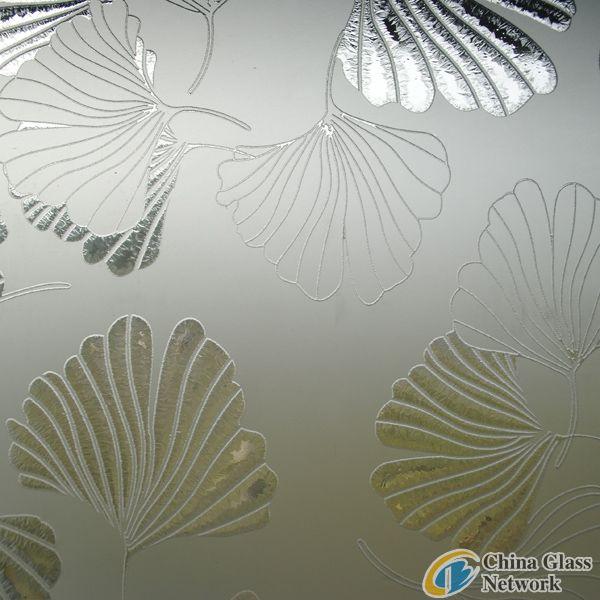 Gingko leaf acid etched mirror