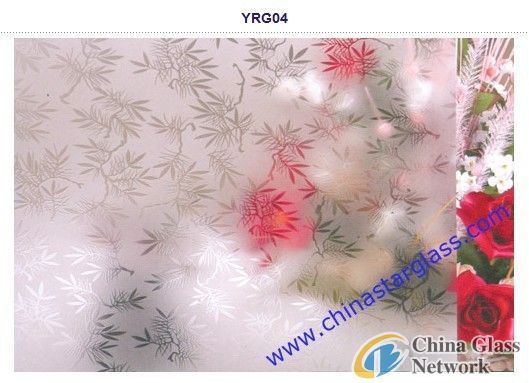 6mm clear acid etched patterned glass