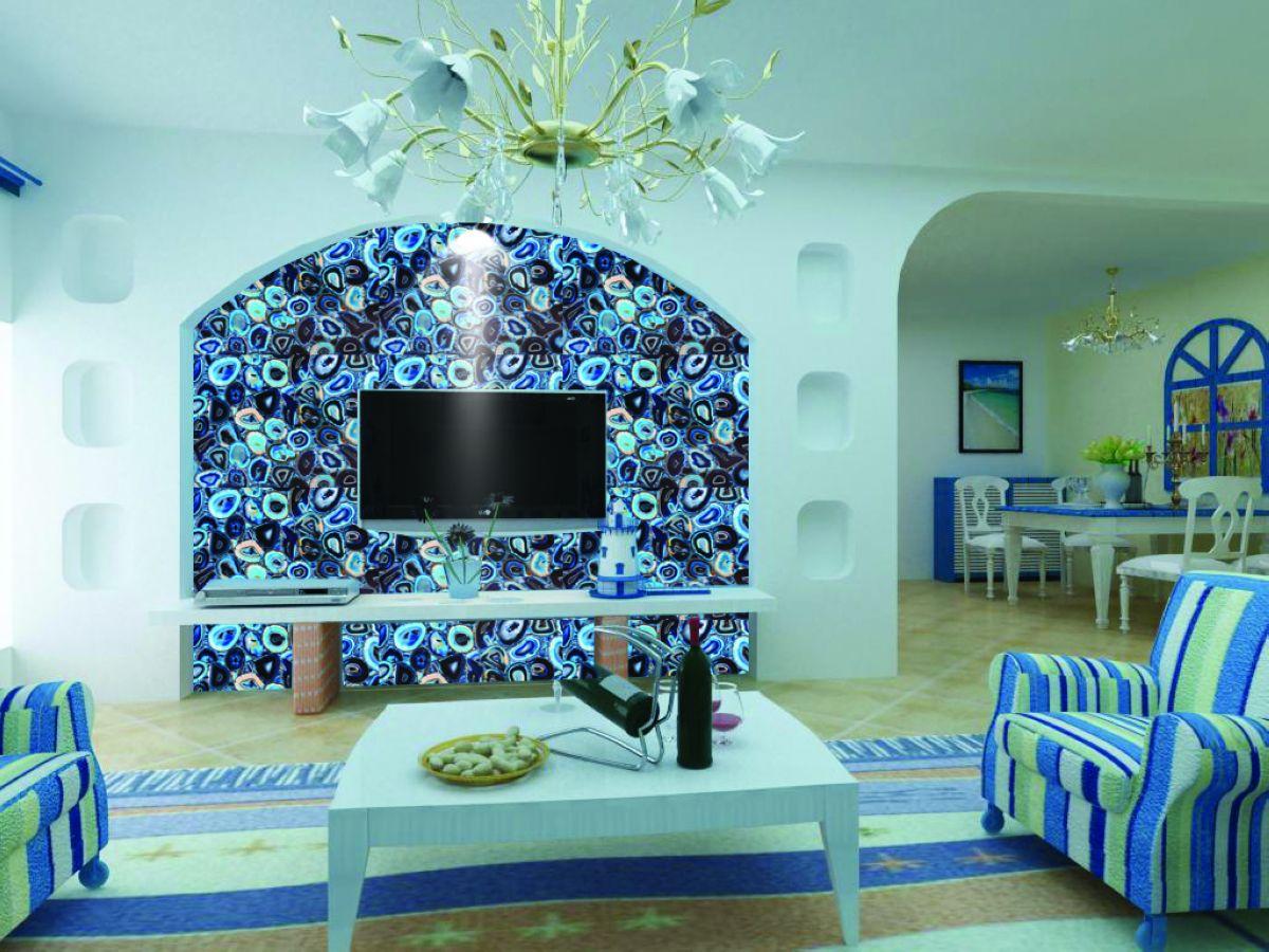 Backlit Transparent Blue Agate Beautiful Decorative Natural Laminate  Countertops Sale