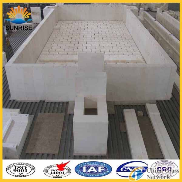 Float glass furnace block of refractory fused cast azs 41