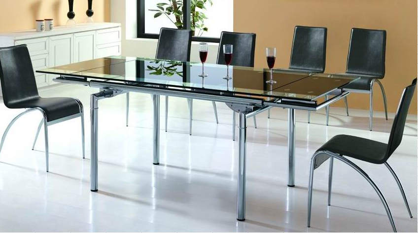 Stretch Dining Table with  Black Painting