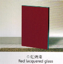Red lacquered glass