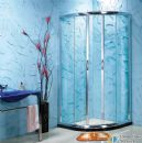 bathroom with shaped bend tempered glass