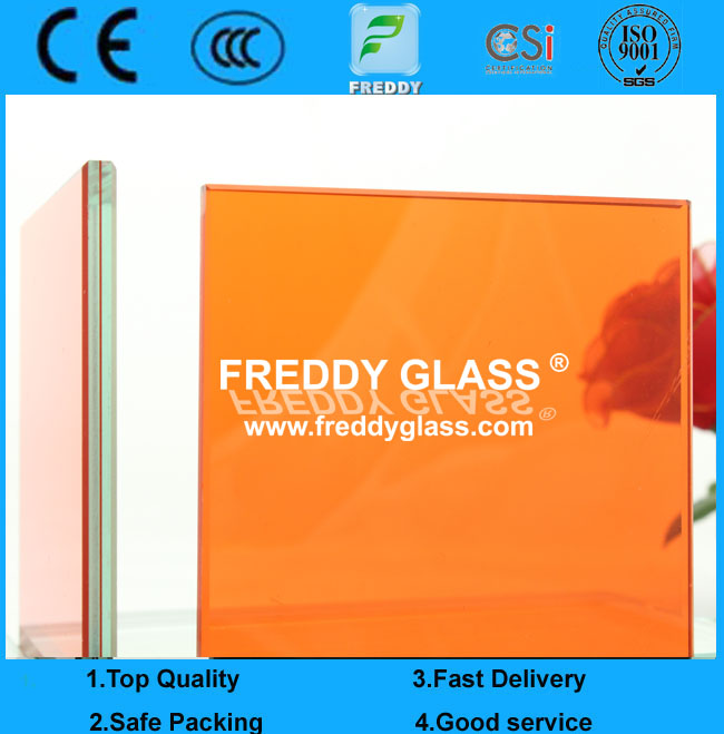 Orange laminated glass/ colored laminated glass