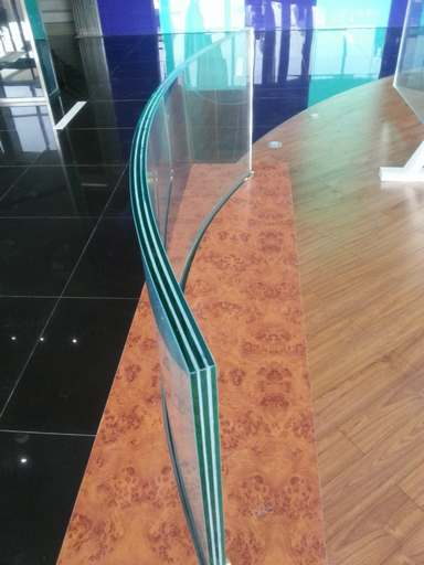 60.04mm Ultra clear Bended tempered laminated glass