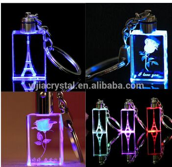 2016 Fancy Cheap customized design engraved crystal key chain /handmade colorful Crystal LED key chain/key holders
