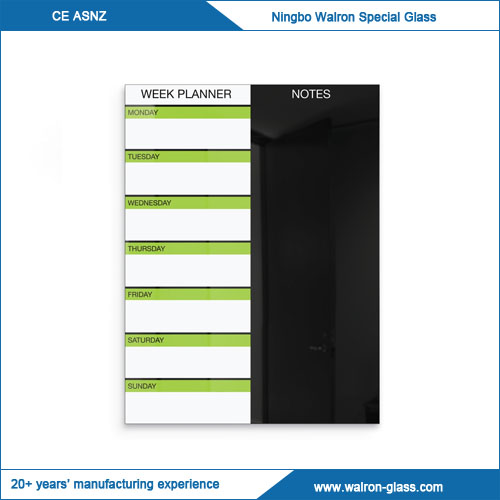 Black Magnetic Glass Dry Erase Weekly Planner