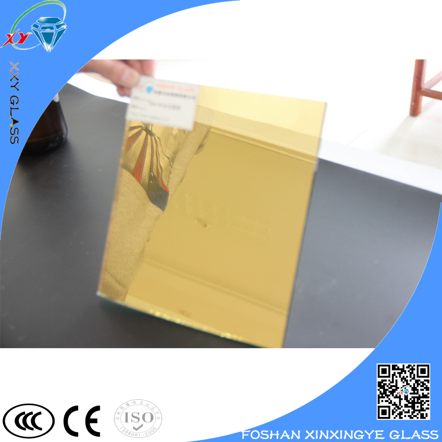 Gold colored reflective laminated glass