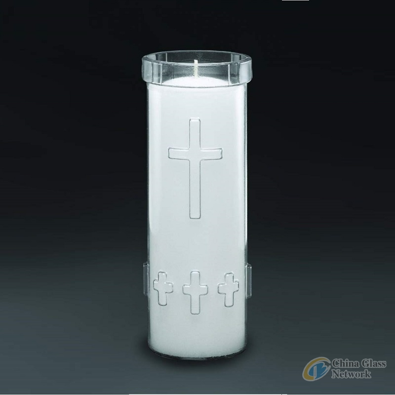 Linlang Shanghai 7 Days 8 Inches Religious Glass Jar Tall Glass Vase For Candle