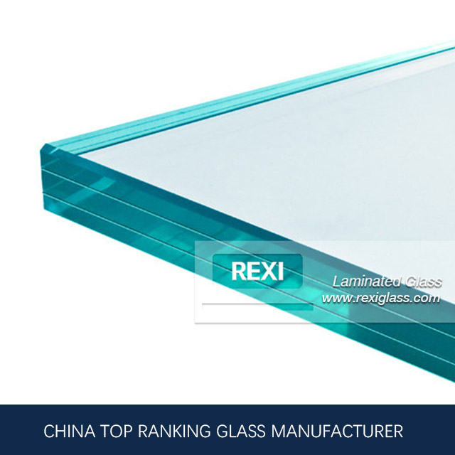 Tri-Laminating tempered glass with anti-slip treatment for glass stair, staircase glass