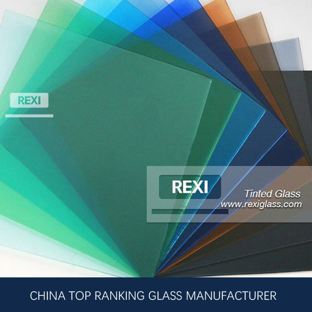 3mm-12mm Colored Glass , Green, Blue, Pink, Black, Grey, Bronze colors, CE certified
