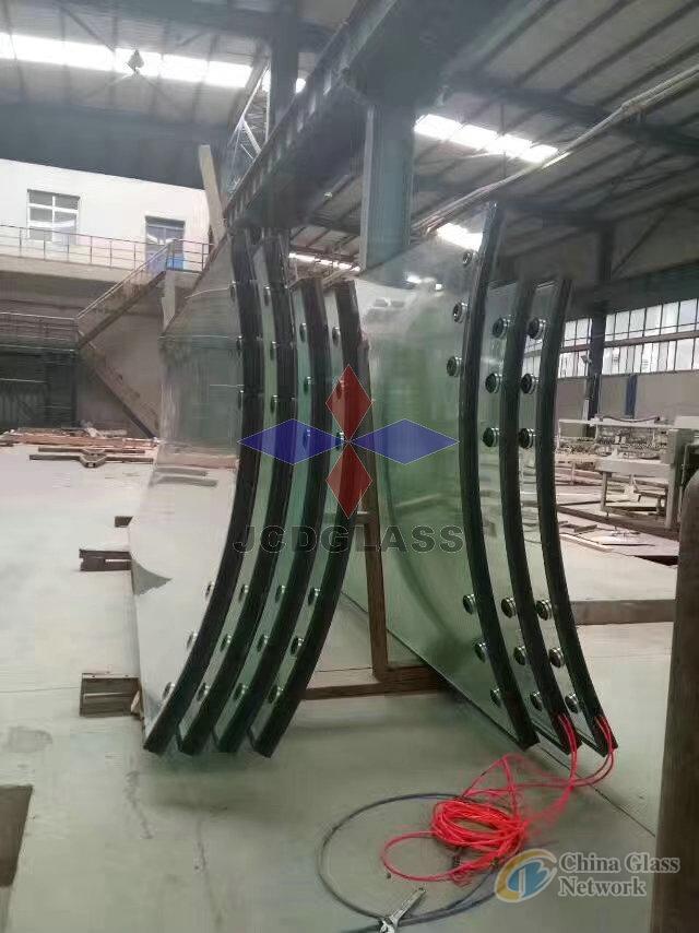 Jumbo size curved, bend Laminated Insulated Glass IGU