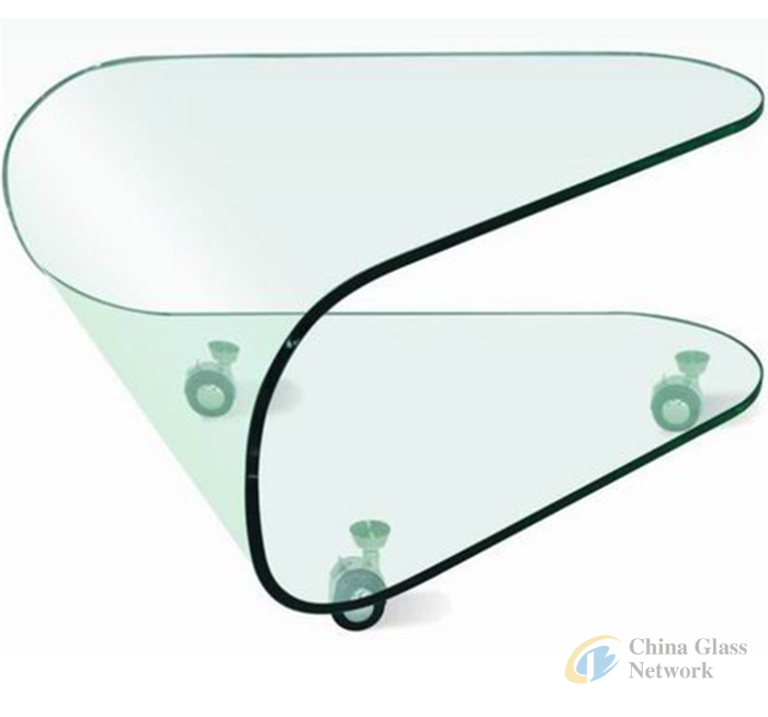 Bent tempered curved glass panels