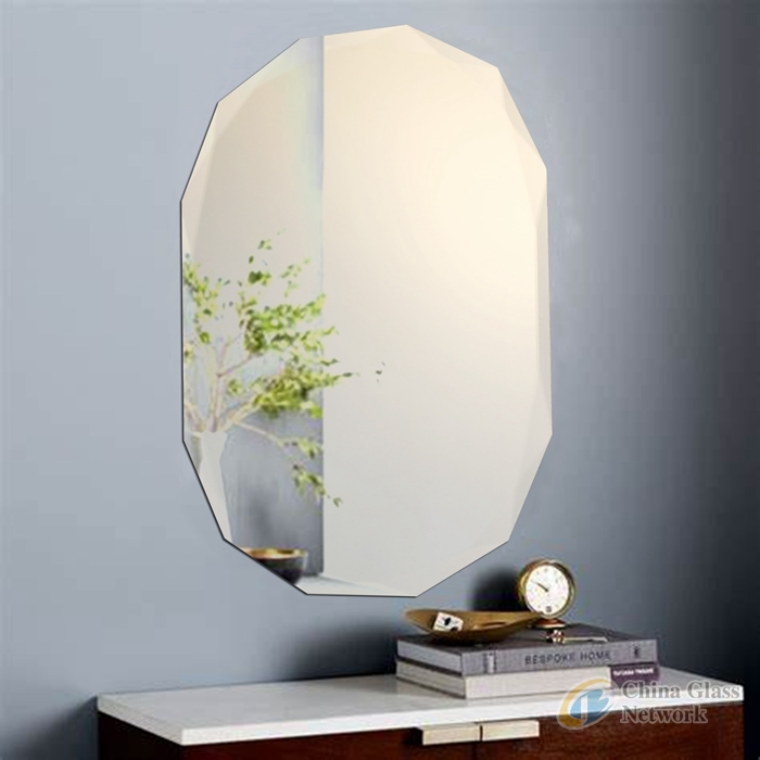 Home Decoration Frameless Wall Mounted Clear Rectangle Oval Round Shape Bathroom Beveled Beveling Mirror