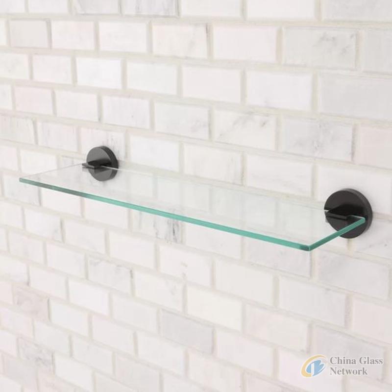 5mm, 8mm, 10mm Bathroom Wall surface mount Tempered glass shelfves