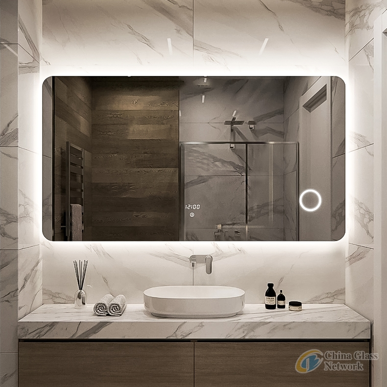 Light dressing up mirror Luxury bath furniture Rectangle illuminated Backlit Vanity Led mirror with Magnifier