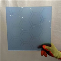 4-6 mm decorative blue acid etched glass with cheap price
