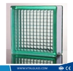 Clear/Green/Blue parallel patterned glass block/brick