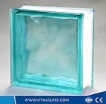 Clear/Green/Blue/Pink/Brown Cloudy patterned Glass Brick/Block for bathroom glass
