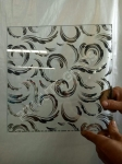 1830*2440 mm Titanium Glass, acid etched glass with designs