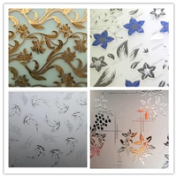 Decorative Glass, Art Glass, Acid etched glass,ice flower, gold coated ,printing decorative,deep acid etched