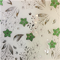 3-8mm decorative glass with ice flower on golden coating/titanium on acid etched glass
