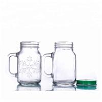 500ML transparent glass mason jar with metal lid water drinking bottle