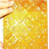 yellow color 4mm-6mm patterned building/furniture glass clear/colored  with Certification