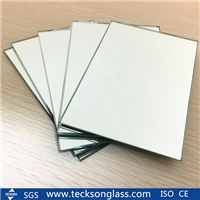 4mm Aluminum Silver Mirror Glass Sheet Edge Polished Dressing Bathroom