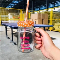 480ml glass mason jar with color lids and straws