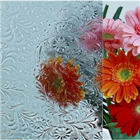 Hibiscus Floral Flor clear patterned building glass price China chine