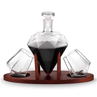 Luxury Borosilicate 1L Diamond Shape Glass Wine Bottle and Two Wine Glass Cup with Wooden Support